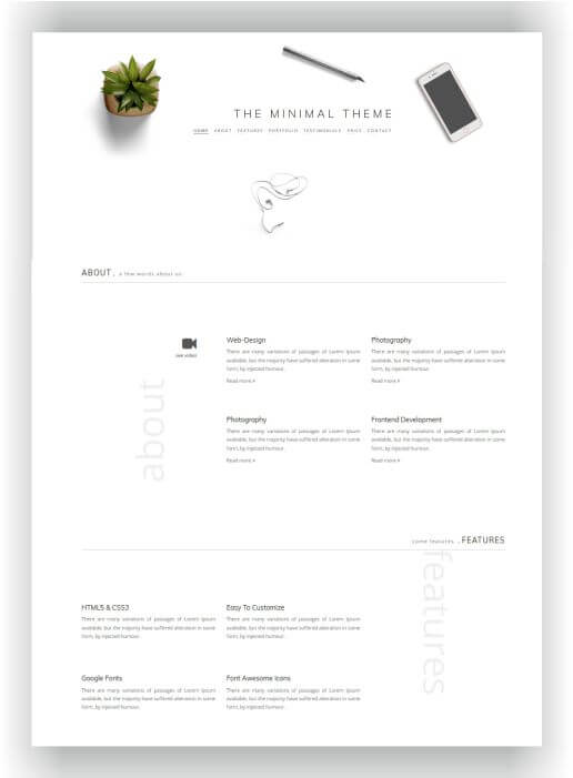HTML5 Minimal Theme