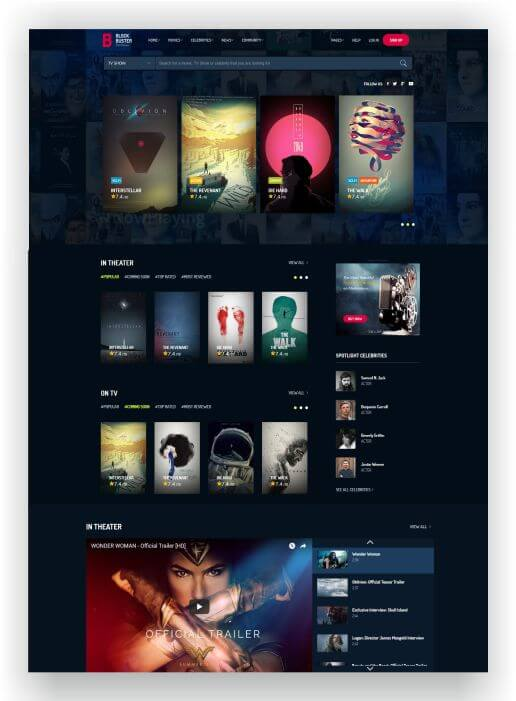 HTML5 Film Theme Blockbuster - Create a movie database or movie blog!