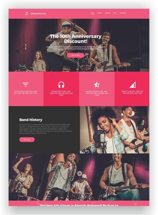 MotoCMS Band Website Stereo Force