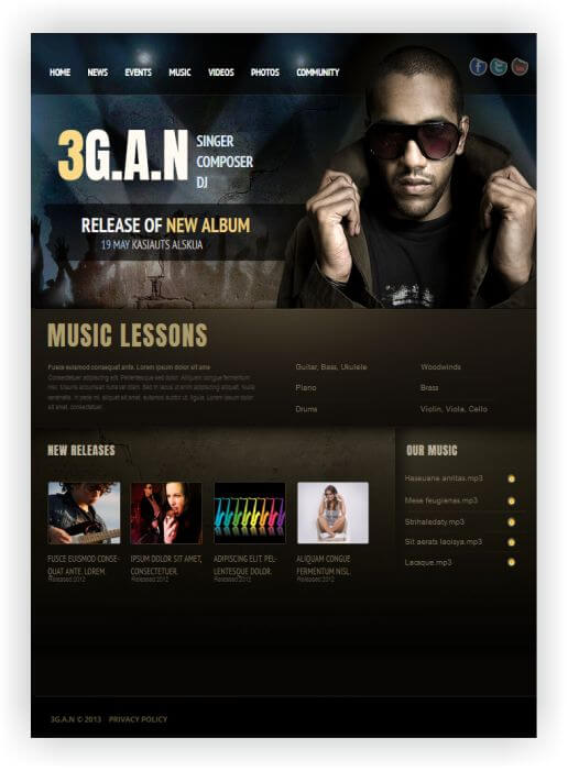 Website Template for Music Band, Solo Singer or DJ