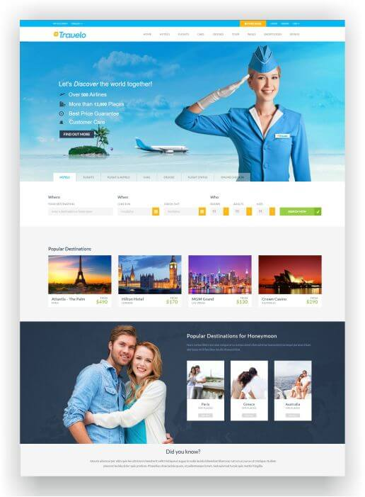 HTML5 Travel/Tour Booking Theme