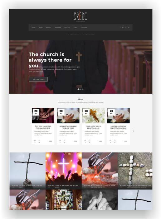 WordPress modern Church Theme Credo
