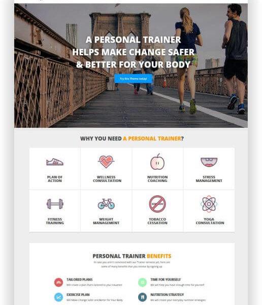 WordPress Personal Trainer Theme