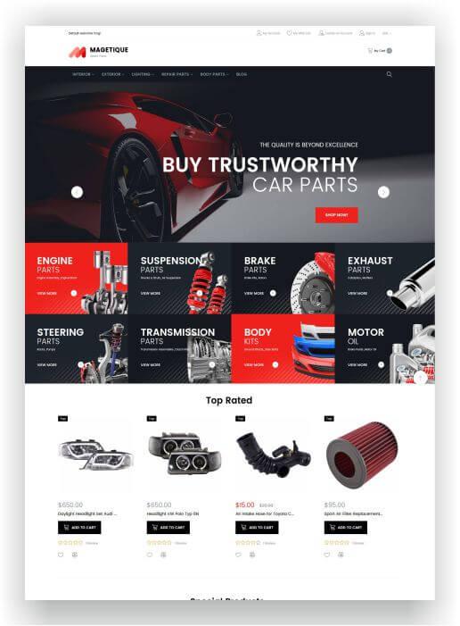 Magento Car Spare Parts Theme