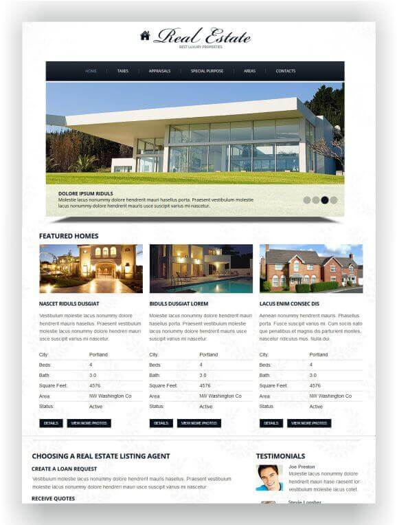 Fast loading Real Estate Website Theme