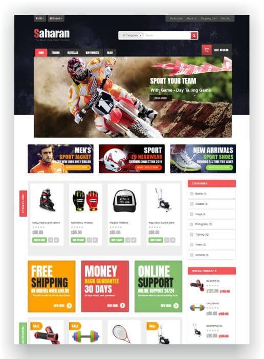 OpenCart Sport Shop Thema
