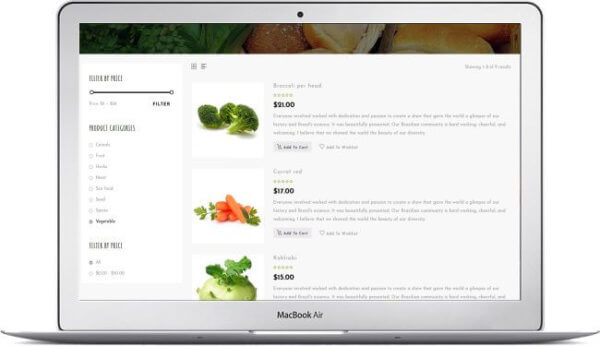 WooCommerce Vegan Food Store